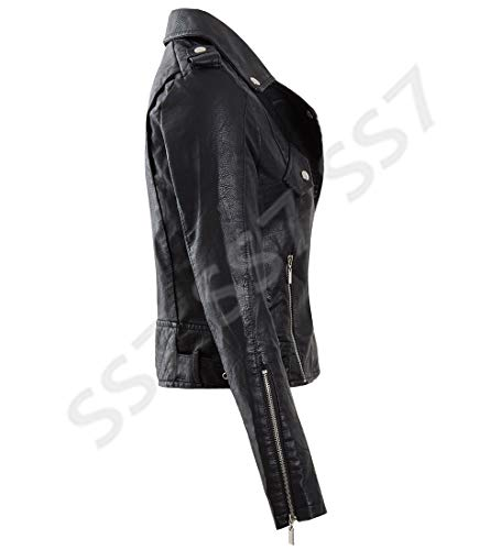 Femmes Faux En Moutarde 36 Cuir Pu 42 Veste Manteau Noir Ss7 Motard Taille ExdFEw