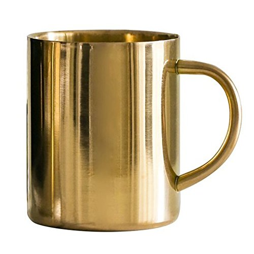 MyLifeUNIT Double Wall Stainless Steel Copper Plated Coffee Mug, 15 Oz Insulated Beer Bug with Copper Finish (Gold)