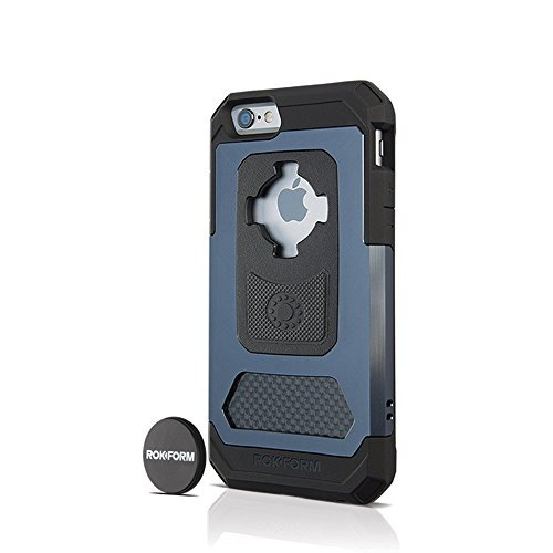 Rokform iPhone 6/6s Fuzion Pro Series Aluminum & Carbon Fiber Rugged Magnetic Phone case with twist lock & universal magnetic car mount (Gun Metal) 532205