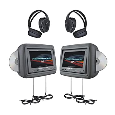 "Power Acoustik HDVD-9GRDK 8.8"" Pre-Loaded Universal Headrest Monitors with Twin DVD Combo and Headphones (Dark Gray)"