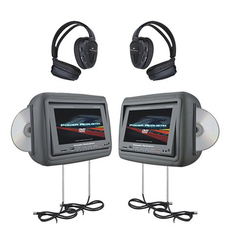 Power Acoustik HDVD-9GRDK 8.8-Inch Pre-Loaded Universal Headrest Monitors - Headrest Dvd Player Dark Gray