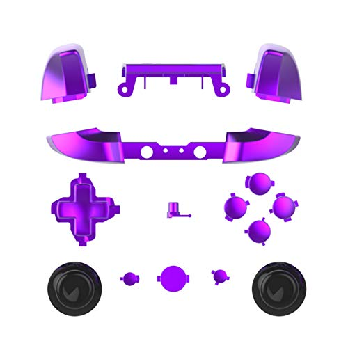 WPS Chrome Color ABXY Dpad Triggers Full Buttons Set Mod Kits for Newest Xbox One Slim/Xbox one S Controller with Screwdriver (Torx T6 T8) Set (Chrome Purple) (Xbox One Controller Full Shell)