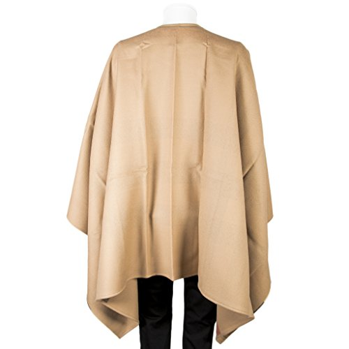 Burberry Women's Reversible Check Merino Wool Poncho Camel