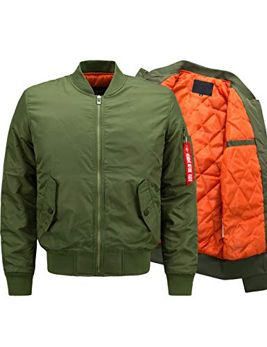 Lentta Men's Casual Winter Warm Thicken Quilted Puffer Short Bomber Jacket (X-Large, Army Green01)