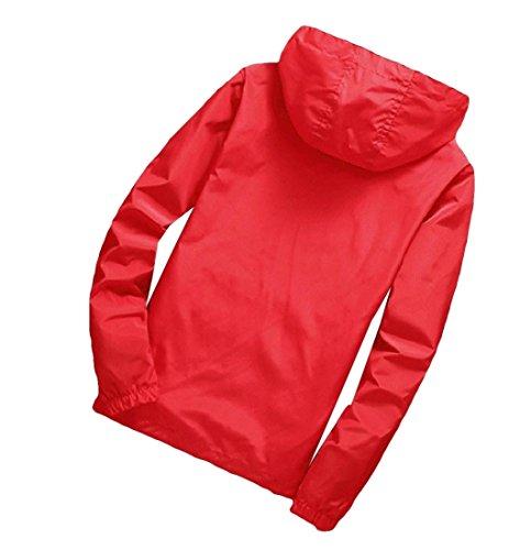 Cappuccio Maschile Sportiva Uomini Svago Rosso Outwear Con Vestiti Bomber Againg Esterni Di Againg Cappotti zvOqxq