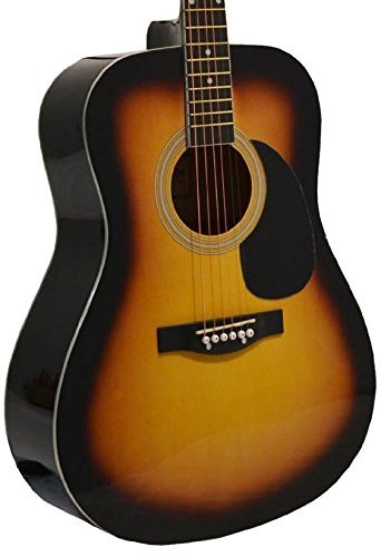 """41″ Inch Full Size Sunburst Handcrafted Steel String Dreadnought Acoustic Guitar & """"Learn to Play Guitar DVD"""" + Blue Medium Guitar Pick (PRO-1 Series)"""