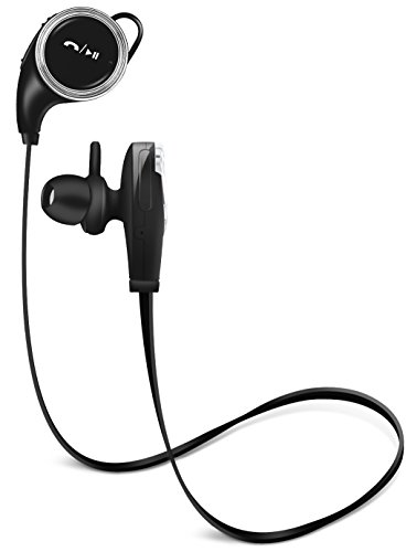 Aduro Amplify SBC10 Sweatproof Wireless Bluetooth Sport Headset w/Noise Cancelling Tech, Ergonomic Design, Secure Fit, Built in Mic (Black)