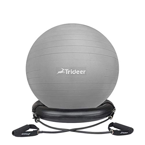 Trideer Ball Chair – Exercise Stability Yoga Ball with Base for Home and Office Desk, Ball Seat, Flexible Seating with Resistance Bands & Pump, Improves Balance, Back Pain, Core Strength & Posture
