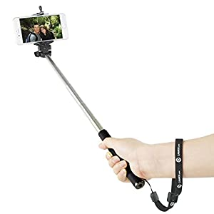"Extendable Selfie Stick by CamKix® - With Universal Phone Holder Suitable for iPhone, Samsung, and Other Devices up to 3.25 Inches in Width - Fully Adjustable Handheld Monopod 11"" - 40"" - Light, Compact, and Easy to Carry With You"