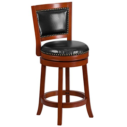 Flash Furniture 26'' High Light Cherry Wood Counter Height Stool with Black Leather Swivel Seat