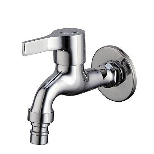 (Single Cross Handle Wall Mounted Basin Tap Oil Rubbe Chrome Finish Washing Machine Faucet (Chrome))
