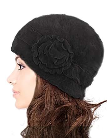 Dahlia Women's Super Soft Flower Laciness Knit Beanie Hat - Black