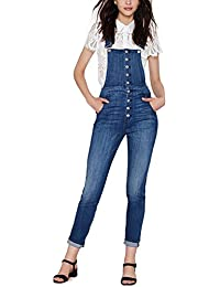 Womens Classic Denim Overall Button Down Jumpsuit