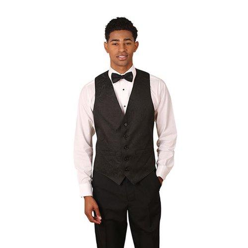 Men's Black Paisley Pattern Jacquard Vest Large - Mens Jacquard Vest