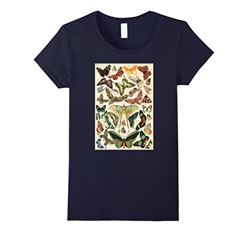 Womens Anatomical Butterfly Shirt Papillon Poster Vintage Large Navy -