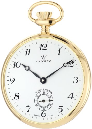 - Catorex Men's 170.6.1810.120 Les Breuleux 18k Gold Plated Brass White Dial Pocket Watch