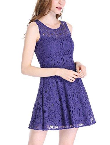 Mini Flare Ärmelloses Damen Blumen K Semi-transparent Spitze Allegra Kleid Royal