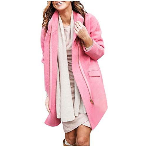Women Warm Zipper Tops Pockets Long Sleeve Sweatshirt Pullover Long Coat Outwear Pink