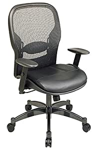 SPACE Seating Breathable Mesh Black Back and Padded Leather Seat, 2-to-1 Synchro Tilt Control, Adjustable Arms and Lumbar Support with Gunmetal Finish Base Managers Chair