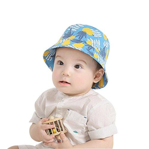 Matoen (TM) New Kids Boonie Hawaiian Bucket Hat Pear Fruit Print Outdoor Sun Cap (Blue) (Hawaiian Print Sun Hat)