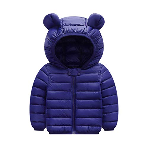 Yezijin Toddler Baby Kids Little Boy Girl Winter Hooded Jacket Thick Keep Warm Outerwear Coat for 0-4 Y (90(Age: 12-18 Months), Bule-2)