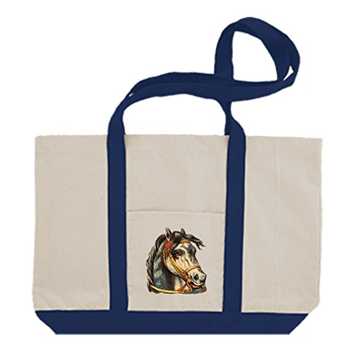 Gold Bridle - Canvas Boat Tote Bag Horse With Gold Bridle Pets Animals By Style In Print   Royal Blue