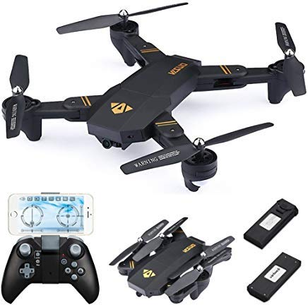 Virhuck VISUO XS809W Drone with Camera Live Video, WiFi FPV Quadcopter with 120° Wide-Angle 720P HD Camera Foldable Drone RTF - Altitude Hold, 3D Flip, APP Control, Gravity Sensor + Bonus Battery from Virhuck