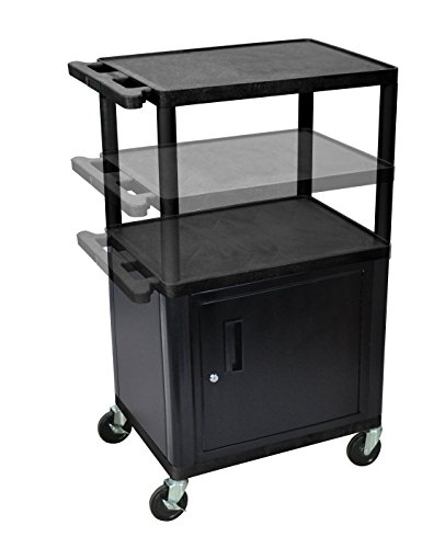 (LUXOR LPDUOCE-B Endura Presentation Cart, Multi Height with Cabinet and Electric,)