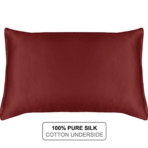 MYK SILK - Natural Silk Pillowcase with Cotton Underside for Hair and Facial, 19 Momme Burgundy King