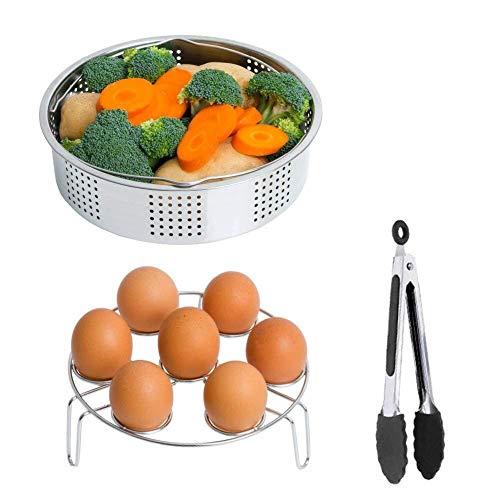 instant pot accessories ,Steamer Basket Rack Set Accessories, Fits Instant Pots & Pressure Cookers 5, 6, 8 qt with Olive Oil Sprayer Bottle for Cooking