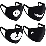 Teenitor 4 Pcs Cotton Face Mouth Mask Anti Dust Wind, Cut EXO Bear Pig Teeth Star Pattern, Fashion Earloop Face Mask Black for Kids Teens Men Women