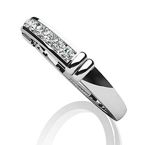 Or blanc 14K canal Ceinture Bande de diamant