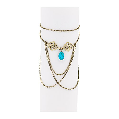 Boosic Bohemian Compressed-Turquoise Charm Bead Armlet Gold Tone Chain Fringes Upper Arm Bracelet Cuff For Women - Fringe Chain
