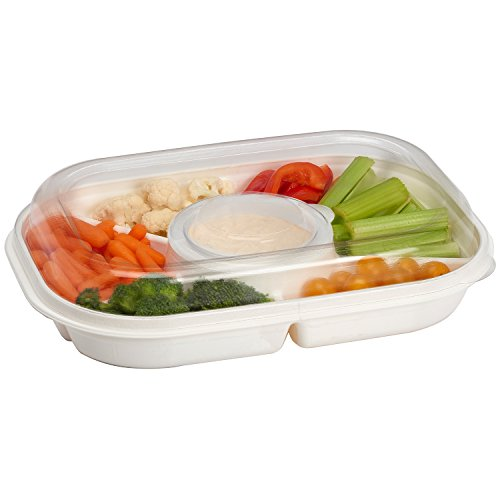 Green Covered Vegetable Dish - Party Platter Divided Portable Party Serving Tray Serving-Ware With Lid, |6| Extra Large Compartments for Dip, Appetizers, Snacks, Veggies, Chips and Holiday Foods by Buddeez