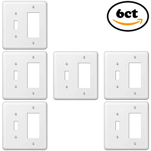 Bulk Contractor Supply Set 2-Gang 1-Toggle 1-Decora/GFCI Device Combination Rocker Wallplate Smooth White Steel ()