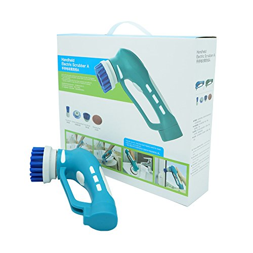 SUNKY Handheld Scrubber Cleaner, Cordless Portable Rechargeable Power Cleaner with 4 Stainless Steal Brush for Bathroom Tile Shower Kitchen Barbecue Gas Grill Multiple Cleaning