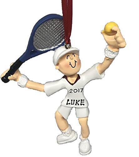 (Personalized Boy Playing Tennis Player Christmas Ornament 2019)