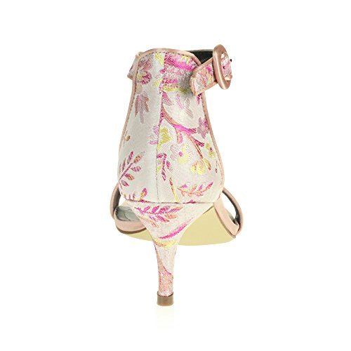 AARZ LONDON Frau Damen Abend Hochzeit Party Abschlussball Braut Beiläufig Offener Zeh Mitte Hoher Absatz Sandalen Schuhe Größe Rosa
