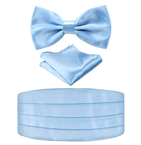 Multicolored Silk Solid Cummerbund for Mens Gift Bow Tie Set, Light Blue