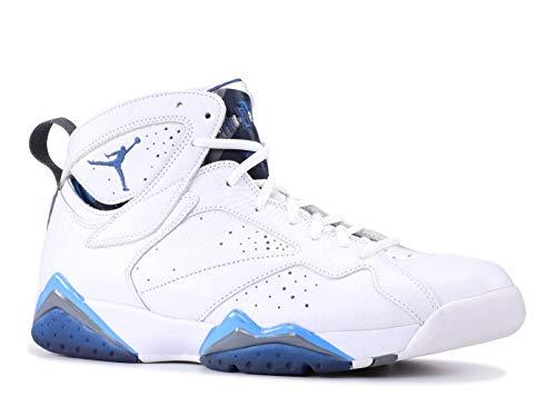 Nike Mens Air Jordan 7 Retro French Blue White/French Blue-Flint Grey Leather Size 9.5 Basketball Shoes (Jordan French Blue 7)