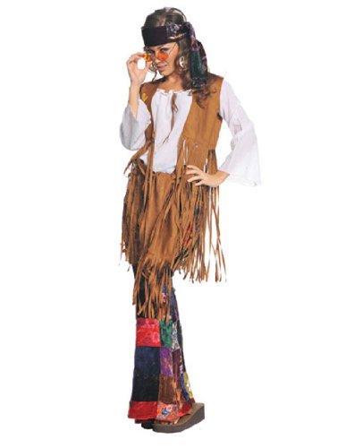 Underwraps Costumes  Women's Retro Hippie Costume - Peace Out, White/Tan/Multi, - Ideas Hippie Halloween Costume