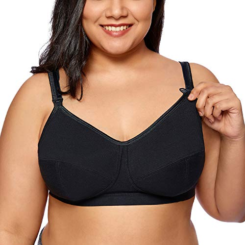 Gratlin Women's Softcup Supportive Plus Size Wirefree Cotton Maternity Nursing Bra Black 48E