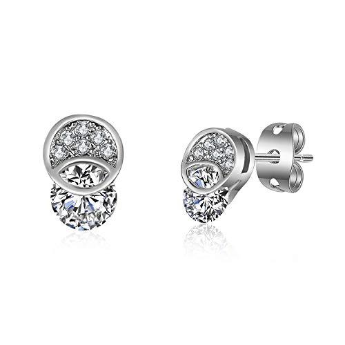 MAJESTY Synthetic Diamond Stud Earrings for Women Teen Girls CZ Stud Earrings White Gold Plated Valentines Earrings for Teen Girls Women