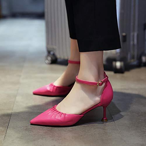 Yukun zapatos de tacón alto Zapatos De Marea De Colores De Gradiente De Primavera Y Otoño De Color De Lentejuelas, 36, Rosa Rose Red