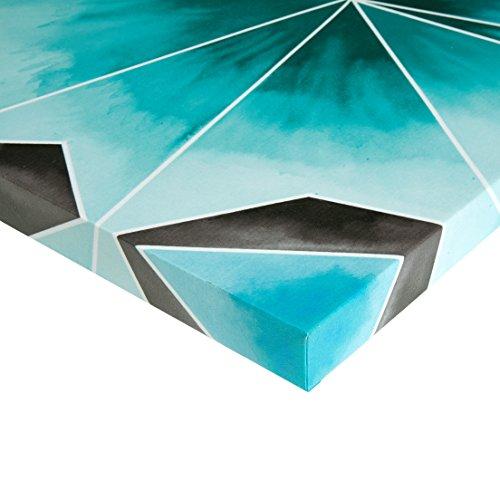 Intelligent Design Cool Gem Abstract Grey Teal Canvas Wall Art 20X20, Contemporary Modern Wall Décor
