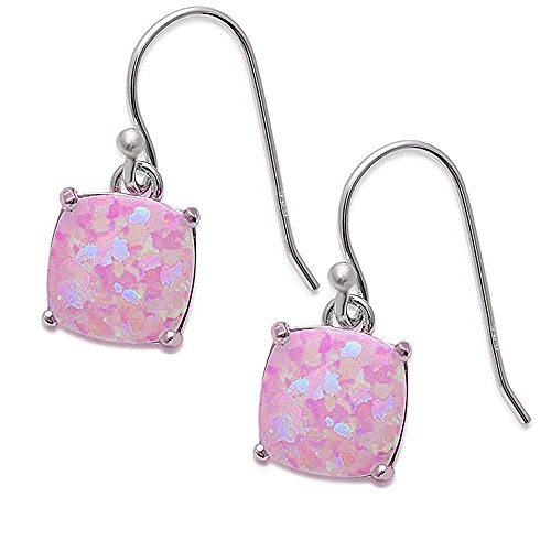 Cushion Shape Lab Created Opal Dangle Style .925 Sterling Silver Earrings Colors Available (Lab Created Pink Opal)