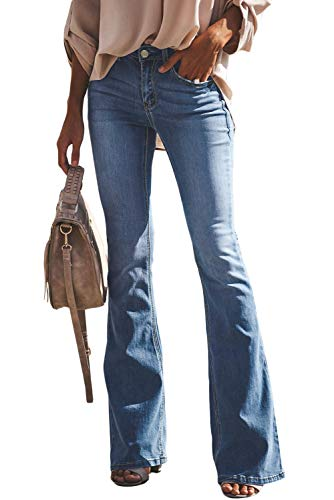 Women's Flare Jeans, Hight Waist Bell Bottom Jean Slim Bootcut Jean Ripped Fitted Denim Jeans,Light Blue,US 12/14=Tag Size 2XL -