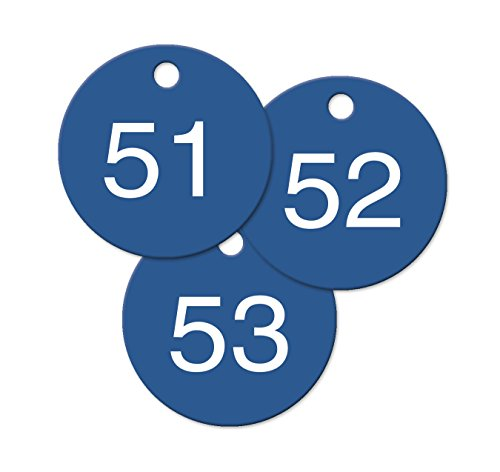 "Numbered Blue Plastic Circle Tags - Pack of 25 (2"" Number..."
