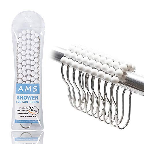 AMS Shower Curtain Hooks Rings - 100% Stainless Steel - Decorative with Polished Metal Frame,Set of 12 Rings (White) ()