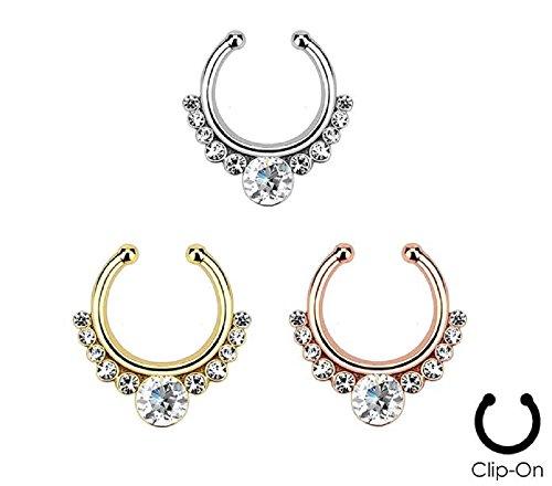 """(3pcs) Helios with Gems 5/16"""" Hoop Non-Piercing Fake Septum Hangers N524C"""